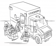 Print lego ambulance city coloring pages