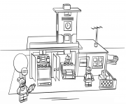 Print lego fire station city coloring pages