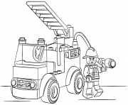 Printable lego fire truck city coloring pages