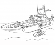 Printable lego police boat city coloring pages