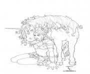 Printable coloring adult fantasy unicorn coloring pages