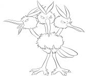 Printable 085 dodrio pokemon coloring pages