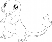 Printable 004 charmander pokemon coloring pages