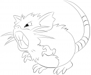 Printable 020 raticate pokemon coloring pages