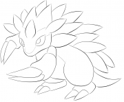 Printable 028 sandslash pokemon coloring pages