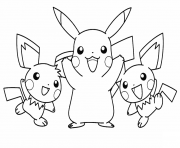 Printable pikachu with his pichu friends pokemon coloring pages