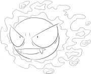 Printable 092 gastly pokemon coloring pages