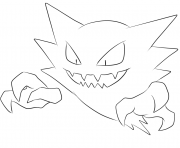 Printable 093 haunter pokemon coloring pages