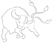 Printable 128 tauros pokemon coloring pages