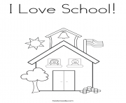 Print i love school coloring pages