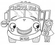 Print little girl and school bus coloring pages