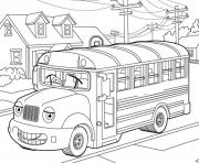 Print school bus  for kids coloring pages