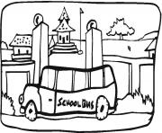 Print school bus  in the town coloring pages