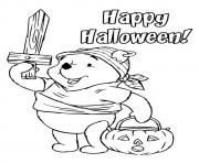 Printable The pooh as a viking disney halloween coloring pages