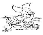 Printable piglet pooh and easter eggs disney halloween coloring pages