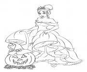 Printable tiana princess disney halloween coloring pages