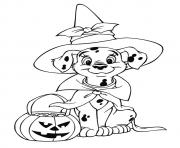 Printable The dalmatian celebrating halloween disney halloween coloring pages