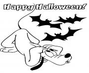 Printable pluto with bats disney halloween coloring pages