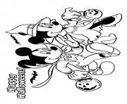 The mickey and minnie mouse disney halloween coloring pages