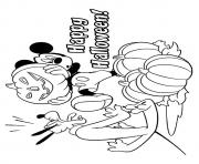 mickey and pluto disney halloween coloring pages