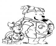 Print The pooh and tigger trick o treating disney halloween coloring pages