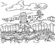 Print scary scarecrow and pumpkin halloween coloring pages