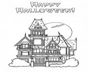 Print haunted house s halloween coloring pages