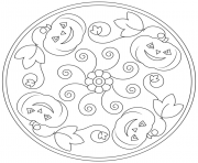 Printable halloween mandala pumpkins flowers coloring pages