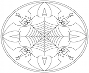 Printable halloween mandala with bats coloring pages