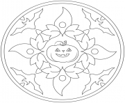 Printable halloween mandala with bats and pumpkin coloring pages