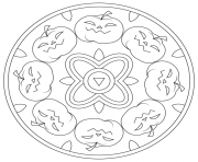 Print haloween mandala with pumpkins coloring pages