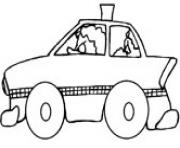 Printable taxi car with driver coloring pages