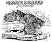 Print grave digger monster truck racing coloring pages