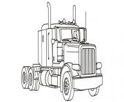 Print semi truck easy simple coloring pages