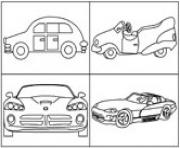 Print various car 4 per page coloring pages