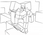 Printable minecraft fight scene coloring pages