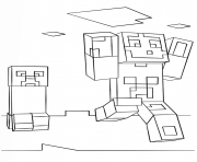 Printable minecraft steve and creeper coloring pages