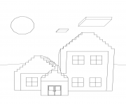 Printable minecraft house coloring pages