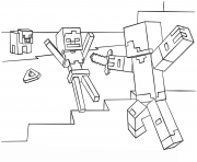 Printable minecraft steve vs skeleton coloring pages