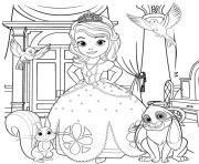 princess sofia the first with animals coloring pages