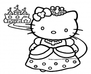 Printable princess hello kitty coloring pages