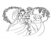 Printable the princess with her prince coloring pages