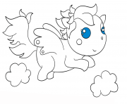 Print chibi pagasus kawaii coloring pages