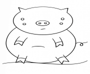 Print kawaii pig coloring pages