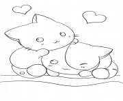 Print kawaii kittens coloring pages