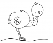 Printable kawaii emu coloring pages