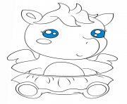 Printable cute baby pagasus kawaii coloring pages