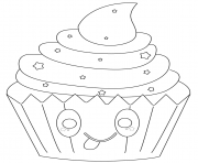 Print kawaii cupcake with stars coloring pages
