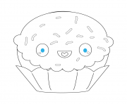 Printable kawaii cupcake coloring pages