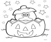 Print Halloween Duck Pumpkin coloring pages
